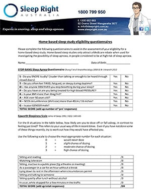 STOP BANG and EPWORTH SLEEPINESS SCORE QUESTIONNAIRE
